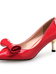 Women's Heels Comfort Synthetic Patent Leather Wedding Dress Party & Evening Bowknot Low Heel White Ruby 2in-2 3/4in