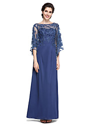 cheap -Sheath / Column Bateau Neck Ankle Length Chiffon Lace Mother of the Bride Dress with Lace by LAN TING BRIDE®