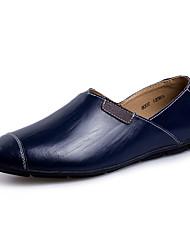 preiswerte -Herren-Loafers & Slip-Ons-Lässig-Leder-Flacher Absatz-Mokassin-Schwarz Braun Dunkelblau