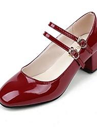 cheap -Women's Shoes PU(Polyurethane) Spring / Summer Comfort / Mary Jane Heels Low Heel / Chunky Heel / Block Heel Square Toe Hook & Loop Black