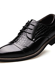 cheap -Men's Shoes Synthetic Leatherette Fall Winter Comfort Formal Shoes Oxfords Flat Heel Pointed Toe Lace-up For Casual Office & Career Black