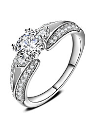 New Luxury AAA Zircon 925 Sterling Silver Brilliant Stackable Wedding Ring Clear Fine Jewelry
