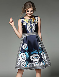 cheap -Women's Holiday / Going out Vintage / Street chic / Sophisticated Cotton A Line Dress - Patchwork