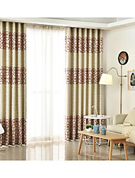 cheap -Rod Pocket Grommet Top Tab Top Double Pleat Pencil Pleat Two Panels Curtain Mediterranean, Jacquard Geometic Bedroom Linen/Polyester Blend