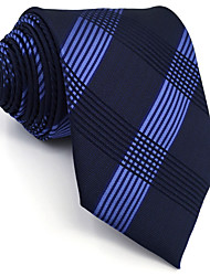 cheap -BXL22 Mens Ties Navy Blue Geometric Fringe 100% Silk Business New Fashion Wedding Dress For Men