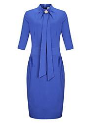 Damen Bodycon Kleid-Übergröße Sexy Solide Blumen Ständer Knielang ¾-Arm Blau Rot Schwarz Grün Baumwolle Frühling Mittlere Hüfthöhe