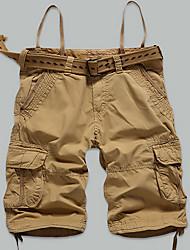 ieftine Pantaloni Cargo-Bărbați Mărime Plus Size Drept Zvelt Pantaloni Chinos Pantaloni Scurți Pantaloni Simplu Șic Stradă Activ Solid Bloc de Culoare