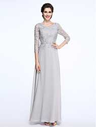Sheath / Column Scoop Neck Ankle Length Chiffon Lace Mother of the Bride Dress with Lace by LAN TING BRIDE®