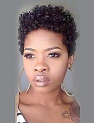 billige -Kvinder Human Hair Capless Parykker Sort Kort Krøllet Pixie frisure Med bangs / pandehår Afro-amerikansk paryk