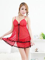 Недорогие -Для женщин Костюм Ночное белье Пэчворк Кружева Органза Красный