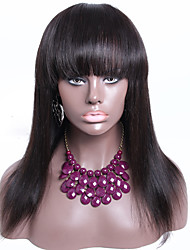 cheap -150% Density Lace Front Wig With Bangs Silky Straight Brazilian Hair Wigs 16Inch Natural Color Accept Custom