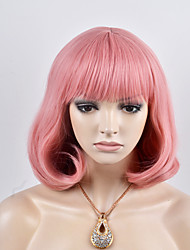 cheap -Synthetic Hair Wigs Loose Wave Bob Haircut Capless Carnival Wig Halloween Wig Natural Wigs Short Pink Synthetic Wig