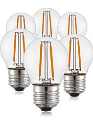 abordables -6pcs 2W 190 lm E26/E27 Ampoules à Filament LED G45 2 diodes électroluminescentes COB Décorative Blanc Chaud AC 100-240 V