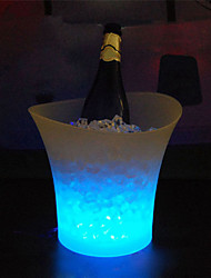 cheap -1Pcs 5L Waterproof Plastic Led Ice Bucket Have 7Color Changing Champagne Beer Bucket Bars Night Party