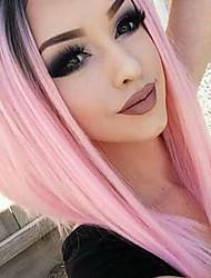 Femme Perruque Lace Front Synthétique Droite Rose Ligne de Cheveux Naturelle Raie Centrale Coupe Carré Perruque Naturelle Perruque
