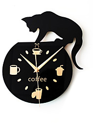 cheap -Silent Cartoon Wall Clock Cute Climbing Cat for Drinking Coffee Clock Wall Decoration Cup Coffee Clock