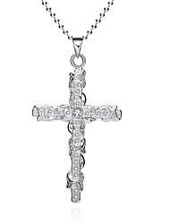 Men's Women's Pendant Necklaces Chain Necklaces AAA Cubic Zirconia Zircon Copper Silver Plated Cross GeometricBasic Unique Design