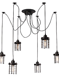 cheap -6-Head Vintage Art Deco Black Iron Cage Pendant Lights Creative DIY Living Room Dining Room Spider Suspension Lamp
