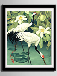 cheap -Framed Canvas Framed Set Animals Floral/Botanical Wall Art, PVC Material With Frame Home Decoration Frame Art Living Room Bedroom Kitchen
