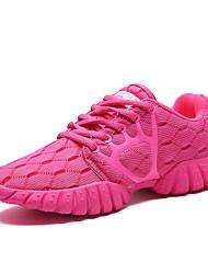 Feminino-Tênis-Conforto-Rasteiro-Preto Roxo Coral Azul Claro-Tule-Ar-Livre Casual Para Esporte