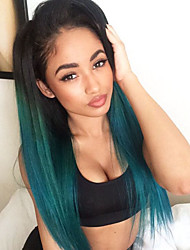 cheap -Ombre Turquoise Green Teal Silk Straight Synthetic Lace Front Wigs Natural Black/Green Heat Resistant Hair Wig New