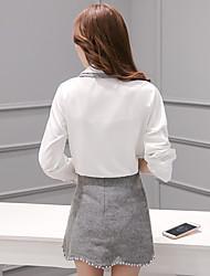 Women's Office/Career Office & Career Classic & Timeless Fall Shirt Skirt Suits,Mixed Color Shirt Collar Long Sleeve Modern Style