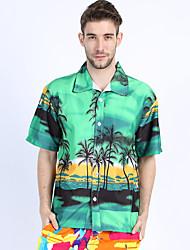Недорогие -Для мужчин Повседневные Пляж  Праздники Лето Рубашка Классический воротник,На каждый день Богемный С принтом С короткими рукавами,Хлопок