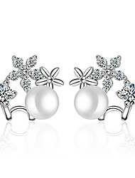 Earring 925 Sterling Silver Flower Imitation Pearl Stud Earrings Jewelry Wedding Party Daily Casual
