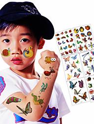 abordables -Tatouages Autocollants Séries animales Dessins Animés Non Toxique Imperméable Enfant Adolescent Tatouage Temporaire Tatouages