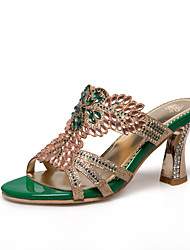 Women's Shoes Synthetic Spring Summer Fall Sandals Chunky Heel Peep Toe Rhinestone Flower For Casual Dress Party & Evening Gold Green