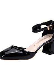 Damen High Heels T-Riemen PU Sommer Normal T-Riemen Schnürsenkel Blockabsatz Block Ferse Schwarz Silber Champagner 5 - 7 cm