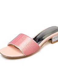 economico -Per donna Scarpe Vernice PU (Poliuretano) Estate Autunno Comoda Sandali Basso Quadrato Punta tonda per Casual Formale Oro Argento Rosa