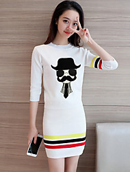 Sign preppy fashion knitted suits cartoon sleeve knit shirt skirt piece