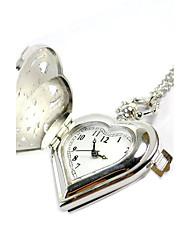 Men's Pocket Watch Quartz Hollow Engraving Alloy Band Sparkle Silver