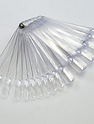 1set 50tips Transparent/Natrual Nail Art Fan Board With Metal Nail Manicure Tools Nail Art False Tips For UV Polish Decoration Random Delivery