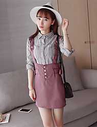 Sign 2017 spring Korean fashion shirt female loose strap dress two-piece suit short skirt bust