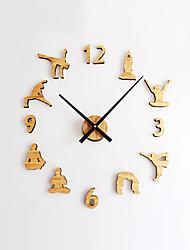 DIY Modern Creative Wood Yoga Mute Wall Clock