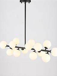 Le luci di vetro di vetro dell'annata delle 16 teste illuminano la sala da pranzo del metallo ha condotto le luci di vetro bianche del pendente