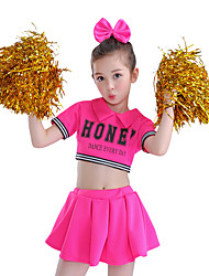 cheap -Cheerleader Costumes Outfits Children's Performance Cotton Splicing Short Sleeve High Top Skirt