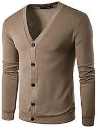 cheap -Men's Long Sleeves Cardigan - Solid Colored V Neck