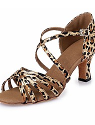 "cheap -Women's Latin Satin Heel Indoor Ribbon Tie Chunky Heel Leopard 3"" - 3 3/4"" Non Customizable"