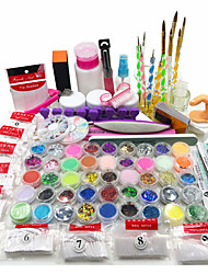 Nail Art Kit Acrylic Powder Liquid Glitter UV Gel Glue Tips Brush Set