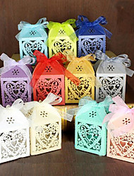cheap -Round Square Pyramid Pearl Paper Favor Holder with Ribbons Printing Favor Boxes Gift Boxes - 100