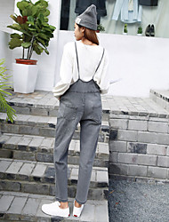 Sign spring Korean version of College Wind cute thin straps large pocket denim overalls Siamese pantyhose