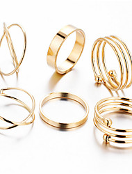 cheap -6PCS Ring Wedding Special Occasion Daily Casual Sports Jewelry Alloy Midi Rings 1set6 7 8 Gold