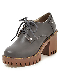 cheap -Women's Shoes PU Spring / Fall Heels Chunky Heel / Block Heel Round Toe Lace-up for Office & Career / Dress Beige / Gray / Yellow