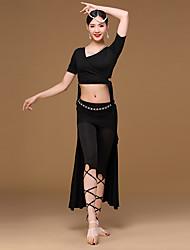 abordables -Danza del Vientre Accesorios Mujer Entrenamiento Modal Fibra de Leche 4 Piezas Mangas cortas Cintura Baja Chaqueta Top Falda Pantalones
