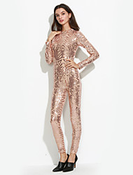 Women's Sequin Solid Sequins Club See-through Blouses Jumpsuits Sexy / Simple Round Neck Long Sleeve