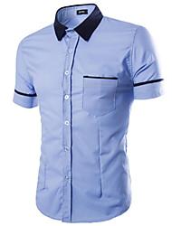 Недорогие -Мужчины На каждый день Офис Лето Рубашка Рубашечный воротник,Простое Однотонный Синий Белый Оранжевый С короткими рукавами,Хлопок,Средняя