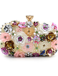 cheap -Women's Bags Polyester Evening Bag Imitation Pearl / Crystal / Rhinestone / Flower Rainbow / Wedding Bags